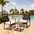 3 Pcs Outdoor Patio Furniture PE Rattan Wicker Coffee Table and Chairs Set Bar Set with Cushioned Tempered Glass White