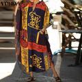 Automne Imprimé Robe Femmes V Cou Robe VONDA Manches Longues Robe Bohème Vestidos Robe Femme Robe S-