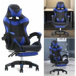 TFCFL Game Competition Chair,Office Massage Chair,Adjustable Chair Height,with Headrest and Electric Waist Massage Pillow (blue)
