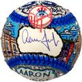 """""""Aaron Judge New York Yankees Autographed City Skyline and Jersey Number Baseball - Hand Painted by Artist Charles Fazzino"""""""