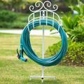 Amagabeli Garden Hose Holder Holds 125Ft Hose Detachable Rustproof Hose Hanger Heavy Duty Metal Decorative Water Hose Storage Stand w/ Ground Stakes Free Stan
