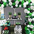 Specool Football Theme Birthday Party Decoration Balloon Arch Garland Kit, 94 Football Party Balloon Packs, w/ Green White Black Latex Balloons Foot