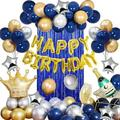 specool Men's Birthday Balloon Set Party Decorations Blue Silver & Gold Party Balloons Happy Birthday Banner Crown Champagne Balloons | Wayfair