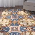 Safavieh Wyndham Oriental Handmade Tufted Wool Blue/Gold Area Rug Wool in Blue/Brown/Yellow, Size 120.0 H x 96.0 W x 0.63 D in | Wayfair WYD320A-8