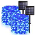 The Holiday Aisle® Blue 66 FT Outdoor Solar Powered LED Fairy Lights 200 LED String Lights w/ 8 Modes For Patio Wedding Party Tree Garden Decoration