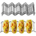 Prep & Savour Taco Holder, Set Of 4 Stainless Steel Taco Stand, Each Taco Rack Holds 4 Or 5 Hard Or Soft Shell Taco, Oven, Grill & Dishwasher Safe