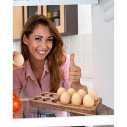 Prep & Savour Rustic Wooden Egg Holder, Wood Egg Tray, 12 Egg Rack For Fresh Eggs, Deviled Eggs Tray in Brown, Size 4.7 W in   Wayfair