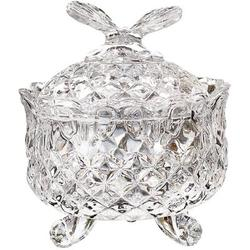 Alcott Hill® Royal Embossed Crystal Candy Box w/ Lid Footed Jewelry Box Candy Jar Cookie Jar Wedding Candy Buffet Jars Kitchen Storage Jar Glass