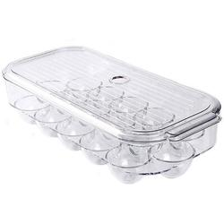 Prep & Savour Egg Holder Stackable Plastic Covered Egg Tray Holder Plastic Refrigerator & Pantry Egg Bin, BPA Free Fridge Organizer w/ Lid in Green