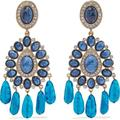 Gold-tone, Crystal And Resin Clip Earrings - Blue - Kenneth Jay Lane Earrings