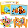 LiKee Ocean Wooden Jigsaw Puzzles Pattern Blocks Sorting and Stacking Toys Peg Puzzle Preschool Montessori Educational Toys for Toddlers Kids Boys Girls Age 3+ Years Old (32 Pieces & 8 Patterns)