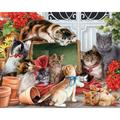 """Garden Cats Jigsaw Puzzle 1000 Piece, Jigsaw puzzle includes 1000 pieces & measures 30""""x24"""" when completed. By Vermont Christmas Company"""