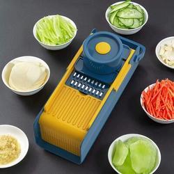 ZGONGZ Mandoline Slicer Vegetable Slicer Cutter & Grater 7 In 1 Vegetable Cutter Potato Slicer Vegetable Shredder Garlic Mincer in Blue/Yellow