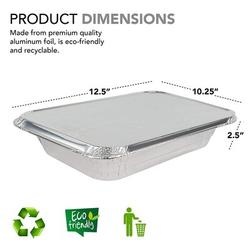 HOU Foil Pans w/ Lids - 9X13 Aluminum Pans w/ Covers - 25 Foil Pans & 25 Foil Lids - Disposable Food Containers Great For Baking, Cooking, Heating