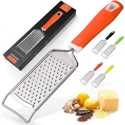 Zulay Kitchen Professional Stainless Steel Flat Handheld Grater Grater Stainless Steel in Gray/Orange, Size 10.71 H x 2.44 W x 0.83 D in | Wayfair