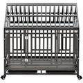 Tucker Murphy™ Pet Tip Roof Heavy Duty Dog Cage Crate Cage, Pet Playpen w/ Four Lockable Wheels & RoofMetal in Black | Wayfair