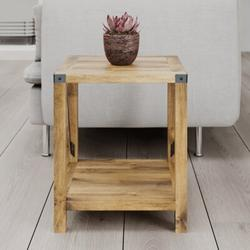 Millwood Pines Side Table w/ Storage – Small Industrial Design End Table w/ A Shelf & Metal Plated Table Top Edges Wood in Black/Brown/Yellow