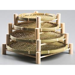 Bayou Breeze Handmade Bamboo Small Bamboo Baskets w/ Wooden Shelves, Storage Baskets, Snack Baskets, Vegetables/Fruits, Bread, Size 1.0 H x 1.0 D in