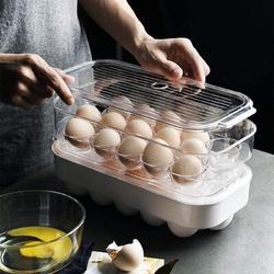 Prep & Savour Egg Holder Stackable Plastic Covered Egg Tray Holder Plastic Refrigerator & Pantry Egg Bin, BPA Free Fridge Organizer w/ Lid   Wayfair