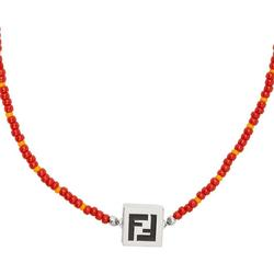 Orange & Red Beaded 'forever ' Necklace - Red - Fendi Necklaces