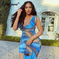 Dulzura – Mini robe moulante et Sexy pour femmes, imprimé Tie and Dye, sans manches, empilée, tenue