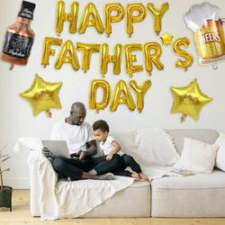 Father's Day Balloon Decoration Kit includes Happy Father's Day Aluminum Foil Balloon Star Foil Balloon Beer Mug and Beer Bottle Aluminum Foil Balloon Latex Balloons