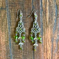 Anthropologie Jewelry   Chandelier Silver & Green Earrings   Color: Green/Silver   Size: Os