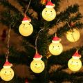 Besufy String Light Santa Claus Snowman Lamp Multicolor LED String Light Xmas Party Decor Red Hat Snowman-Multicolor Light 1.5m 10 Lights