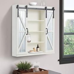 Yoleny Wood Wall Storage Cabinet with Two Aluminum Sliding Barn Door,3-Tier Organizer Bathroom Cabinet Modern Farmhouse