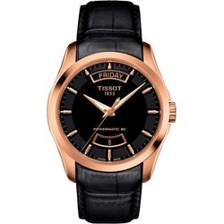 Couturier Automatic Leather Strap Watch - Black - Tissot Watches