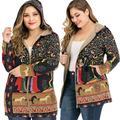 Daciye Winter Vintage Floral Print Loose Hooded Coat Women Casual Jacket (S)