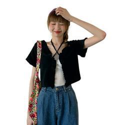 HOT SALE!Spree-Women's Lace Cardigan Jacket Knitted Outerwear Short Cardigan Jacket Short-sleeved Jacket