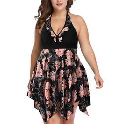 Plus Size Women Halter Swimdress Floral Print Swimwear Beachwear Swimming Costumes Bathing Suit Backless Two Piece Swimsuit Push Up Padded Bathing Suit