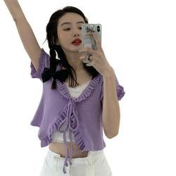 HOT SALE!Hazel Tech-Women's Lace Cardigan Jacket Knitted Outerwear Short Cardigan Jacket Short-sleeved Jacket