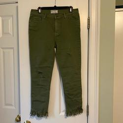 Free People Jeans | Free People Army Green Colored Denim Jeans | Color: Green | Size: 29