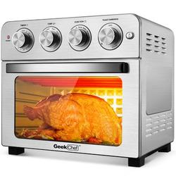 Lifease Air Fryer Toaster Oven, Geek Chef 24.5 Quart Lcd Countertop Convection Airfryer w/ Rotisserie & Dehydrator, Oil-free in Gray   Wayfair