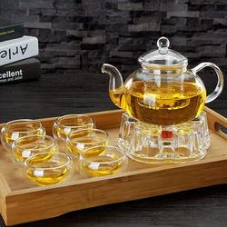 Lattice Routh Glass Teapot Set, Tea Kettle Infuser w/ A Candle Warmer, 6 Double Wall Cups & A Removable Strainer, Stovetop Safe, Tea Pot w/ Blooming