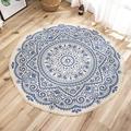 Ochine Cotton Thread Carpet Ethnic Style Carpet Eurasian Blue Polyester in Blue/Green, Size 2.95 H x 2.95 W x 1.0 D in | Wayfair RMQGUB55551000A8