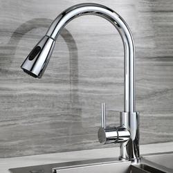Ochine Kitchen Faucet w/ Drop-Down Sprayer Brushed Nickel, High Arc Single Handle Kitchen Sink Faucet in Gray | Wayfair RMQGSP19911077C