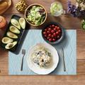 tokyolongco Heat Resistant Place Mats, Washable PVC Table Mats, Woven Vinyl Placemats, Non-Slip Stain Resistant Kitchen Table Placemats in Blue