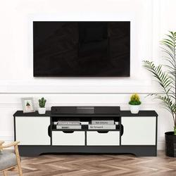 """Ebern Designs Kesia Solid Wood TV Stand for TVs up to 70"""" w/ Fireplace Included Wood in Gray/White, Size 16.5 H in 