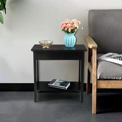 Red Barrel Studio® Flip Top End Table Accent Side Table w/ Storage Hinged Tabletop Wood Slim Sofa Couch Side Console, Black Wood in Black/Brown/Green