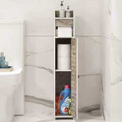 Latitude Run® Small Bathroom Storage Cabinet Floor Cabinet w/ Doors & Shelves,Bathroom Organizers & Storage,Thin Toilet Vanity Cabinet in Brown
