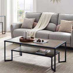 Latitude Run® Industrial Coffee Table For Living Room, 2-Tier Tea Table w/ Storage Shelf TV Stand Side End Table in Brown | Wayfair