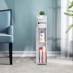 Latitude Run® Small Bathroom Storage Cabinet Floor Cabinet w/ Doors & Shelves,Bathroom Organizers & Storage,Thin Toilet Vanity Cabinet in White