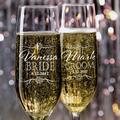 Ensemble de 2 flûtes à Champagne pour mariée et marié, flûtes à Champagne personnalisées pour