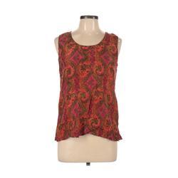 Casual Corner Sleeveless Silk Top Orange Print Scoop Neck Tops - Used - Size Large