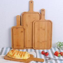 Lattice Routh Wood Pizza Tray Steak Pizza Serving Board Japanese Style Pizza Peel Bread Cheese Appetizer Plate w/ Handle Multi Purpose Fruit Vegetable Cutting Boa Wood