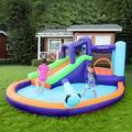 Oriufas Studio Inflatable Waterslide, Bounce House w/ Slide For Wet & Dry, Backyard Waterpark For Summer Fun, Water Gun & Splash Pool   Wayfair