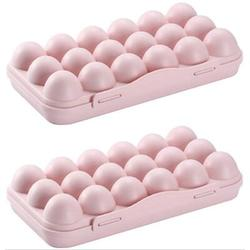 Prep & Savour 2Pcs Plastic Egg Holder Refrigerator Egg Container Kitchen Egg Storage Organizer w/ Lid 18 Egg Tray Plastic in Pink, Size 5.0 W in